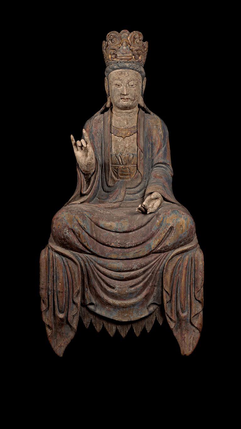 北宋 香樟木雕彩繪西方三聖觀世音菩薩坐像