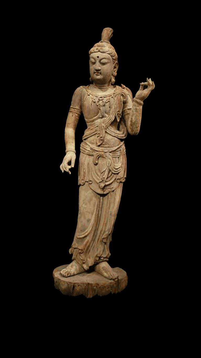 唐朝 香樟木雕彩繪月光菩薩立像